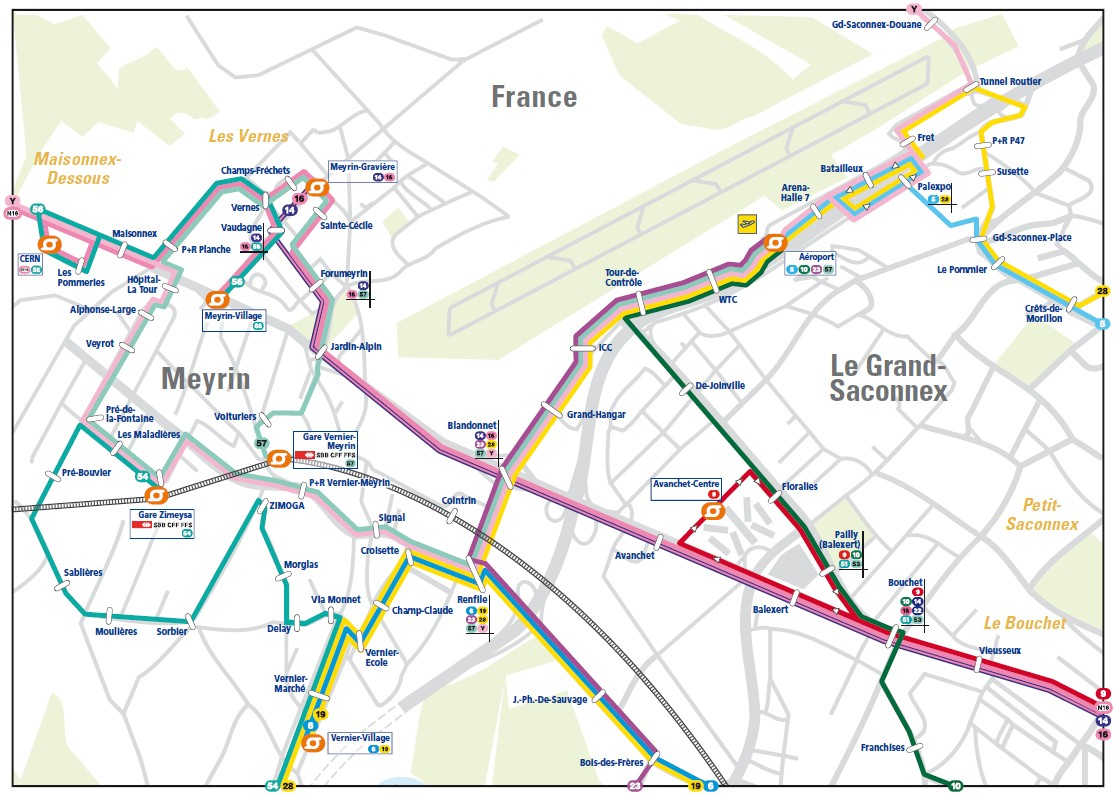 Information For Visitors To CERN - Geneva tram map